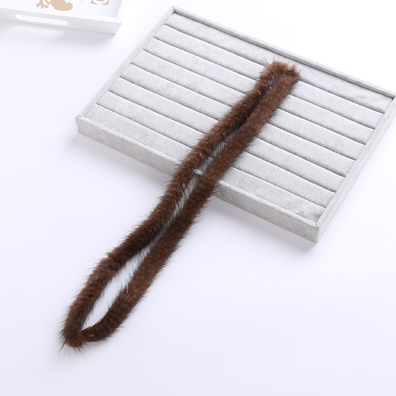 100% Genuine Mink Fur Trim Brim Clothes Accessories DIY  Sweater Down Coat Hood Hat Cap Of Fur Collar Shoes TKS012-coffee