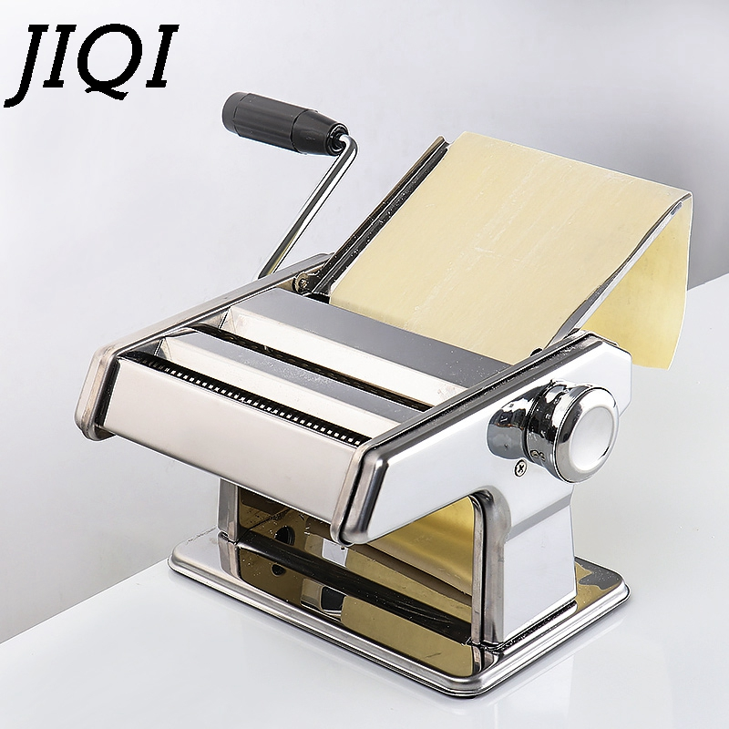 JIQI Stainless Steel Pasta Electric Manual Dual Use Noodle Maker Handmade Spaghetti Noodles Press Machine Roller Dough Cutter