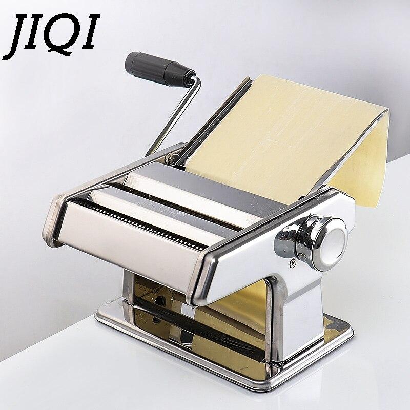 Jiqi 스테인레스 스틸 파스타 전기 수동 이중 사용 국수 메이커 수제 스파게티 국수 프레스 기계 롤러 반죽 커터
