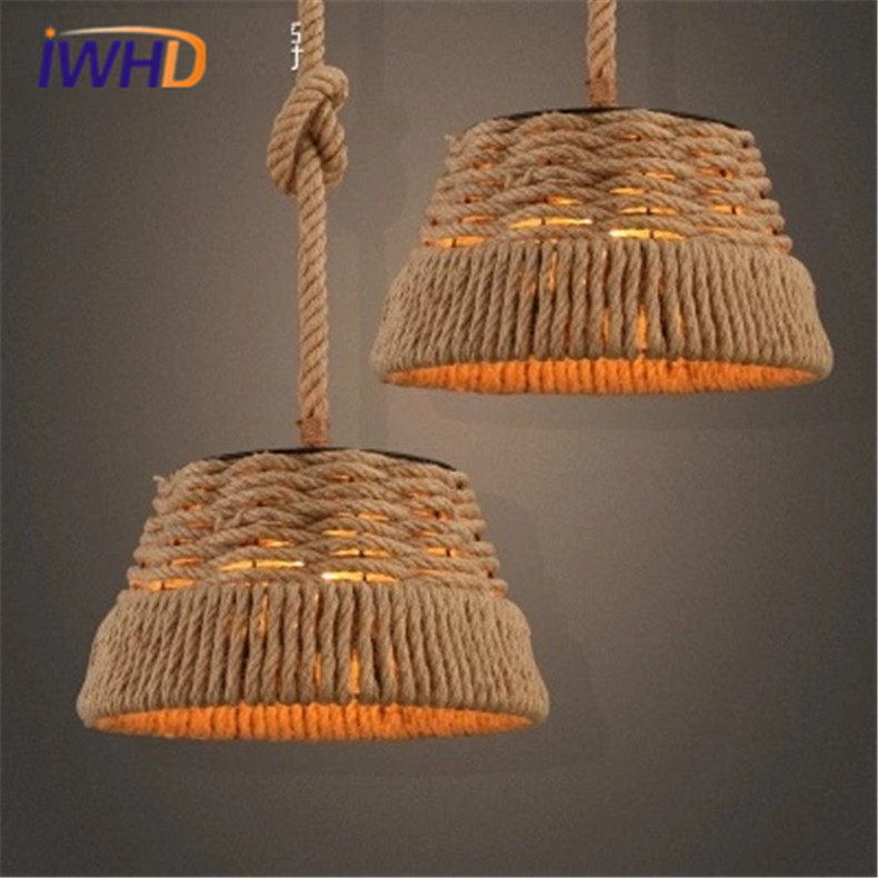 IWHD American Style Reteo Hemp rope Pendant Lamp Loft Vintage Iron Pendant Lights Lamp Creative Personality Industrial Light american industrial hemp rope iron crystal pendant lights creative personality living room coffee shop 75cm retro pendant lamps