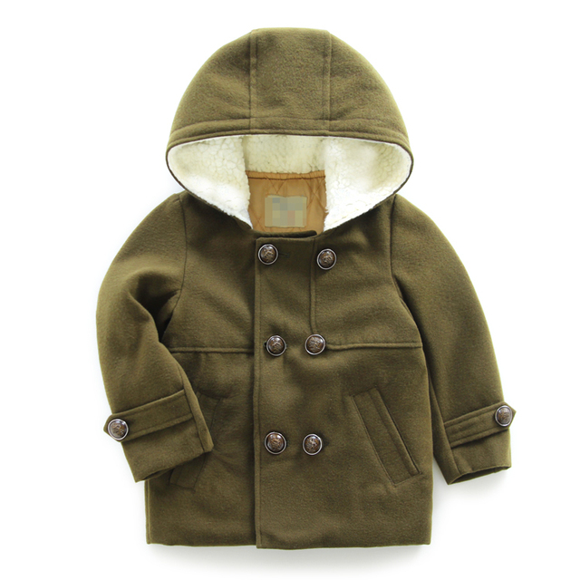 LittleSpring Kids Winter Outerwear Clothes Children Boy Wool Coat Warm Thicken Cotton Hooded Overcoat Boys Army Green Trench Top