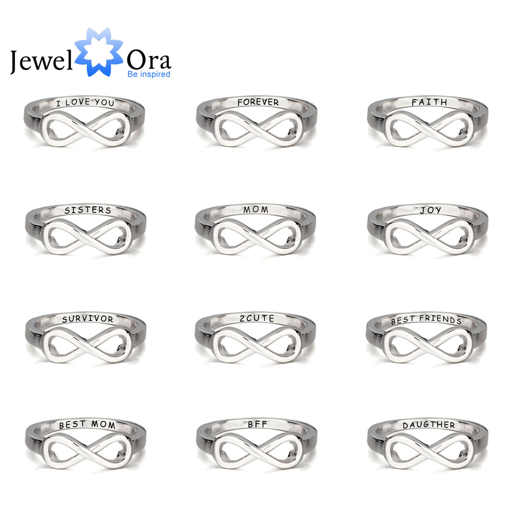 Personalized 925 Sterling Silver Infinity Ring Engraved Friendship Ring Sister Ring For Party Best Gift (JewelOra RI102142) caged heart locket infinity ring sterling silver birthstone ring engraved infinity ring mother s gift for grandma