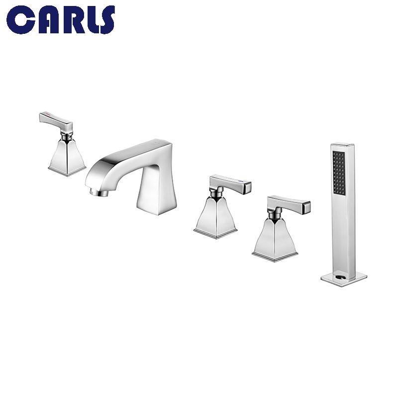 CARLS Hot and cold water side type bathtub faucet five hole copper chrome floor bathroom faucet