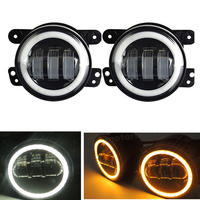 2pcs Pair 30W 4 Inch Round Fog Lights Lens Projector Fog Lamp With DRL Halo Ring