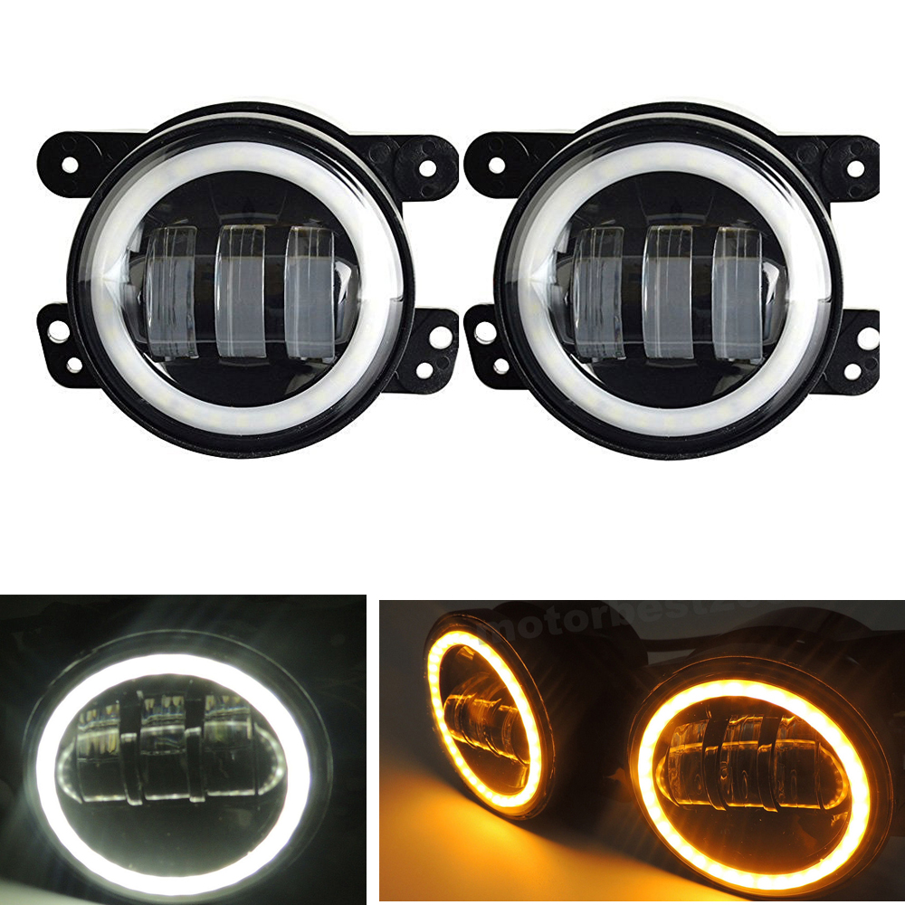 2pcs/Pair 30W 4 inch Round fog lights lens Projector Fog Lamp with DRL Halo Ring White Amber Turn For Offroad Jeep Wrangler JK motorcycle frame sliders crash falling protection anti crash protectors for mt09 fz09 mt 09 fz 09 fz mt 09 2013 2014 2015 2016