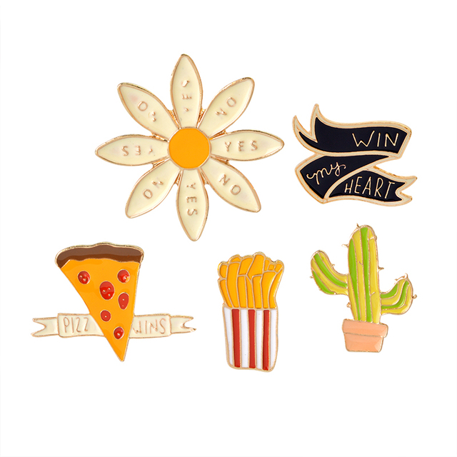 5 Pcs Set Cartoon Yes No Flower Cactus French Fries Pizza Wins Win My Heart Brooch On Pins Bag Jacket Pin Badge Jewelry