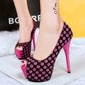 Туфли на Высоком каблуке 14 см сексуальная платформа мелкая рот цветок цвет блока украшение открытый носок обувь одного тонкие каблуки туфли на высоком каблуке