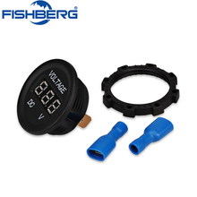 DC12V-24V Car Motorcycle LED Digital Panel Round Voltmeter Meter Monitor LED Digital Display With Reverse Connection Protection