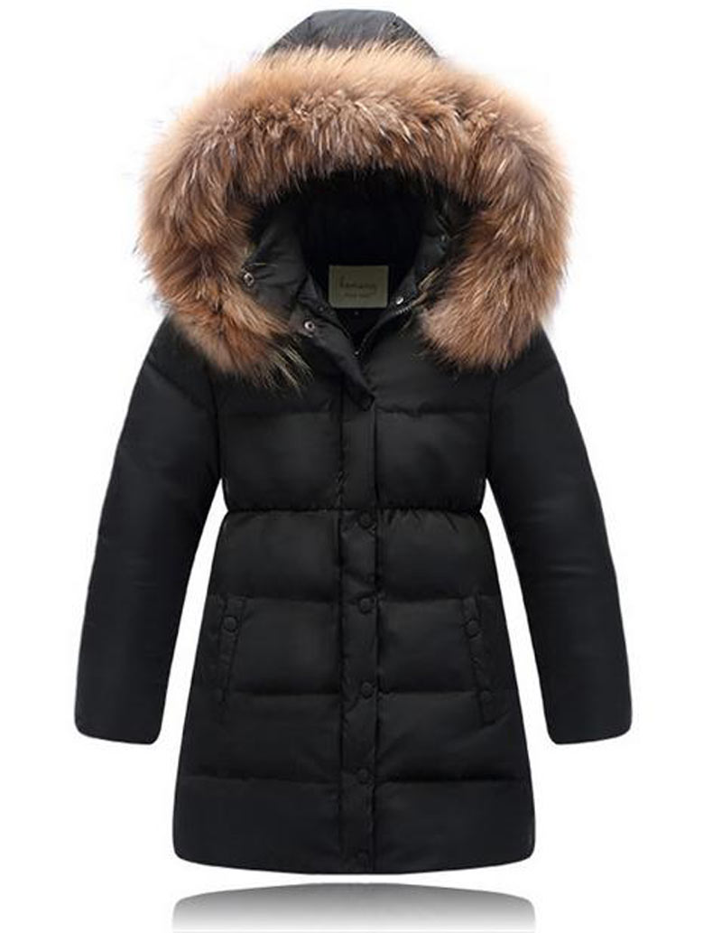 ФОТО Children Down Jacket Girls Thick Coat Winter Coat Princess Kids children Pure color clothes fashion Black Green Rose Red