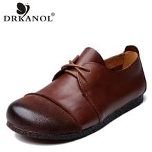 DRKANOL Women Flat Shoes Luxury Genuine Cow Leather Soft Bottom Casual Flats Spring Vintage Cowhide Ladies