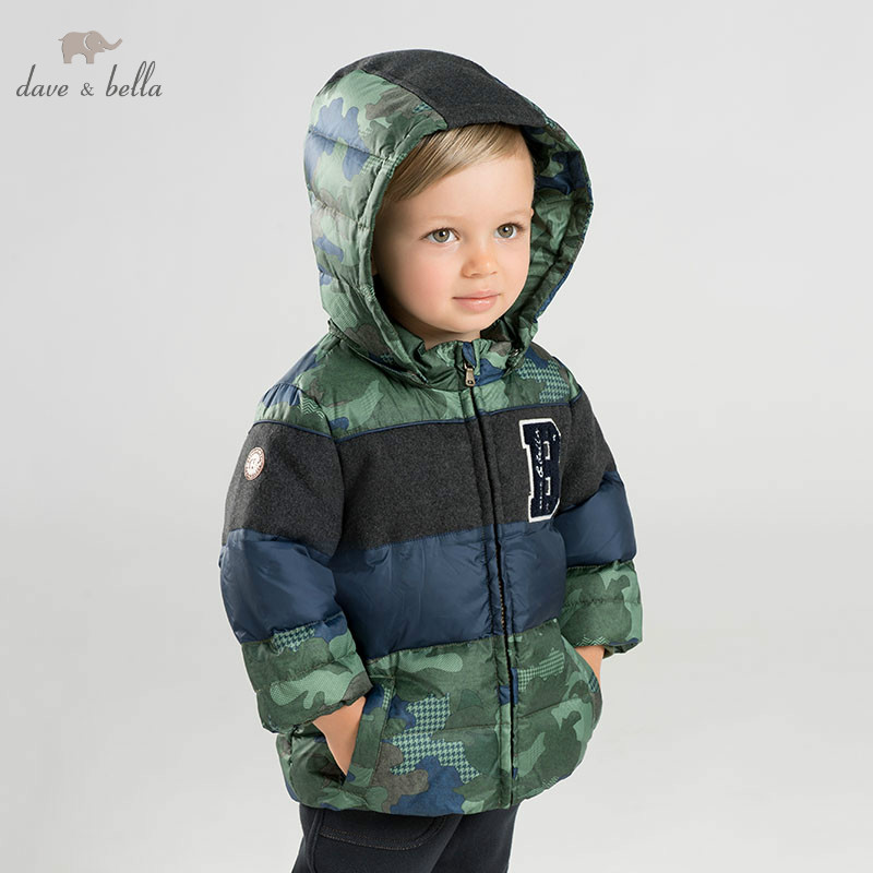 DB8945 dave bella BABY BOYS down jacket children hooded outerwear infant toddler Camouflage boutique 90% down padded coat