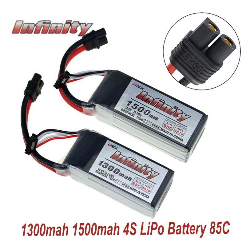 Infinity 4S 14,8 V 1500mAh 1300mAh 85C grafene LiPo batería recargable SY60 enchufe conector soporte cargador 15C