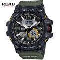 READ марка Спорт Военная Круглый Циферблат Большой Цифровой Масштаб Аналогового наручные часы синий Свет Обратно ремешок для смолы Высокого качества мужчины