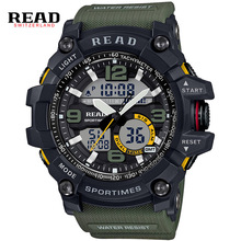 READ brand Sport Military Round Dial Large Digital Scale Analog wrist watches  blue Back Light strap for resin High quality men