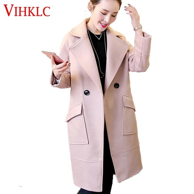 2016 Зимняя Мода Женщины Новое Пальто С Длинным рукавом Средней Длины высокое качество Шерстяное Пальто Свободные Супер Теплые Шерстяные Пальто Женщин G274
