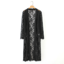 JSMY Women New Summer Black Lace Flower Sexy Beachwear Cardigan Beach Holiday Sunscreen Shawl Dress