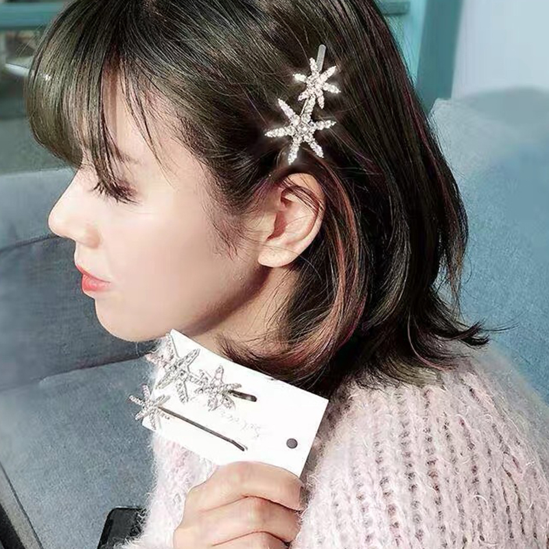 CHIMERA Silver Star Hairpin Crystal Rhinestone Hair Clip Glitter Fashion Barrettes for Women Girls Accessories Wedding Jewelry in Hair Jewelry from Jewelry Accessories
