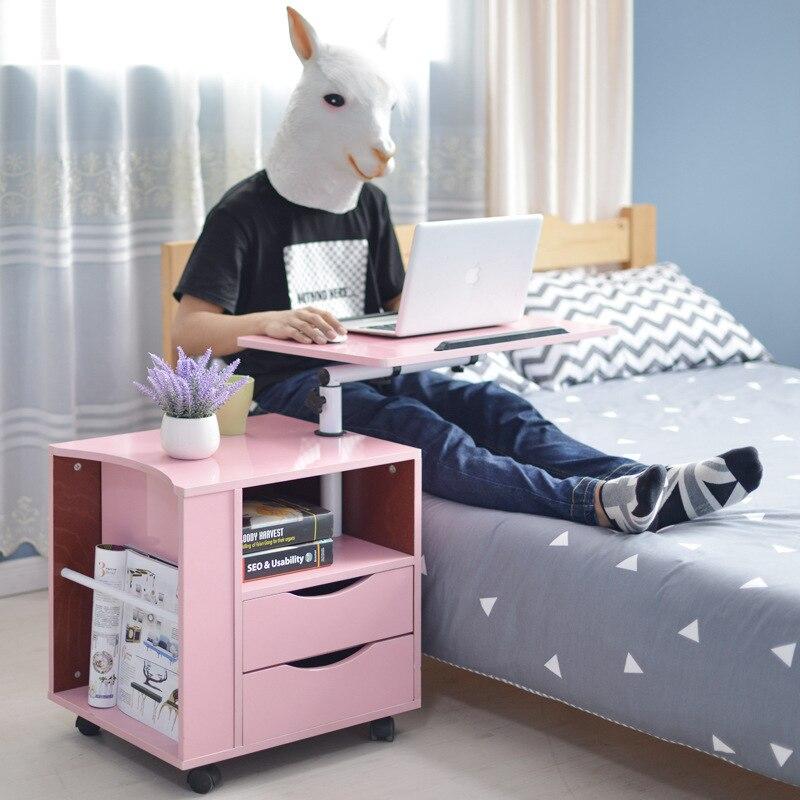 Simple Modern Computer Bedside Table Laptop Table Bedside Table Removable  Bedroom Side Cabinet Multi Functional Locker Furniture