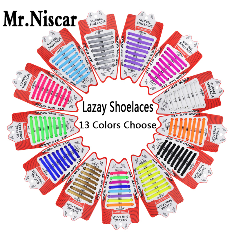 Cheap Silicone Elastic Shoelaces for All Sneaker Shoelace Creative Patents Adults Hammer No Tie Shoe Laces Lace Lazy 1Set/16Pcs