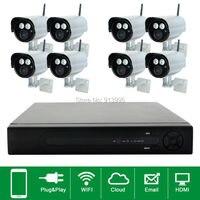 8CH Plug And Play Wireless NVR CCTV System 720P IP Camera WIFI Waterproof IR Night Vison