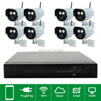 8CH Plug And Play Wireless NVR CCTV System 720P IP Camera WIFI Waterproof IR Night Vison