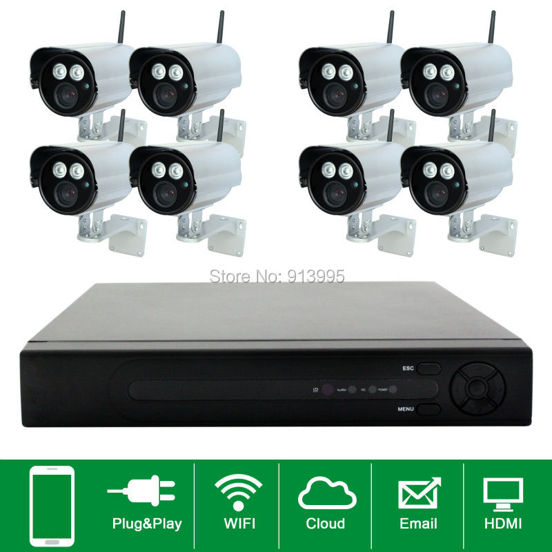 8CH Plug And Play Wireless NVR CCTV System 720P IP Camera WIFI Waterproof IR Night Vison Home Security Camera Surveillance Kit hikvision wireless home security camera system 720p mini wifi pt ip camera ds 2cv2q01fd iw 8ch wireless nvr ds 7108ni e1 v w 6mp