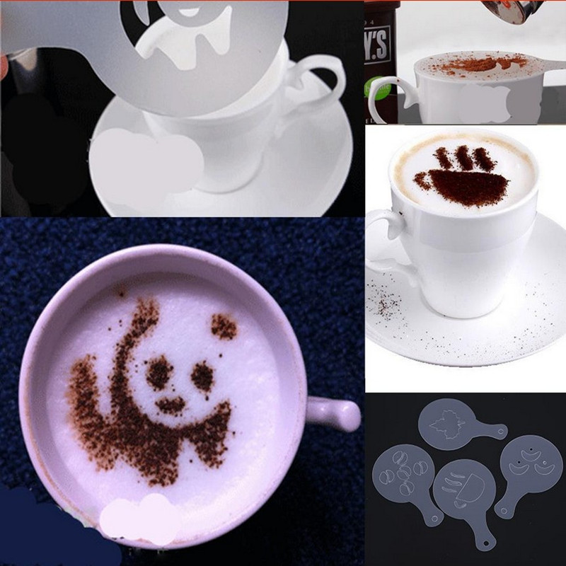 16pcs Set Cappuccino Coffee Latte Stencil Printing Mold Decor Cake Decorating Barista Duster Art Template Strew Pad Spray Foam