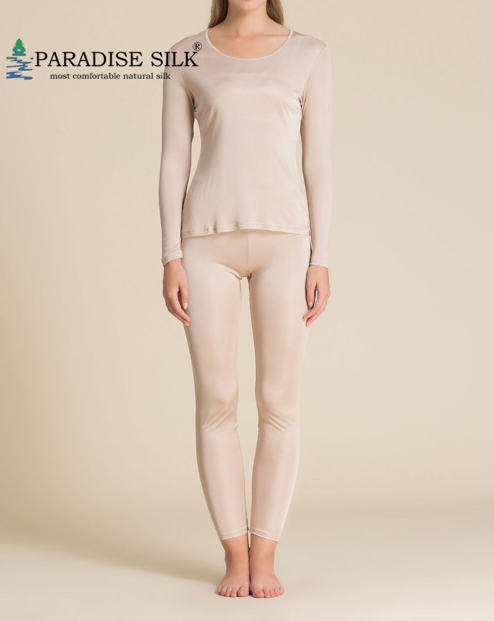 Special Offer Women Long Johns 100% Natural Silk Knit Women Underwear Top And Bottom Set Size US XS S M L