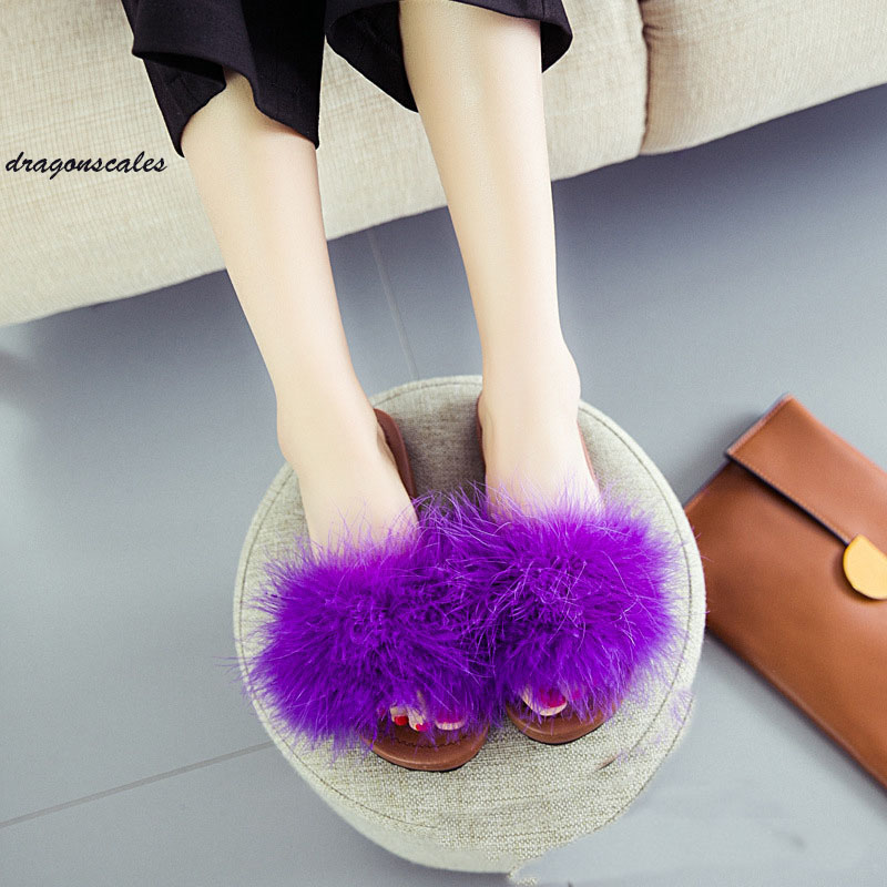 2017 Real The New Spring And Summer Feather Flat Slippers Female Fashion Outside Home To Wear A Thick Bottom Of Woman's Shoe free shipping new spring and summer fashion men s denim jeans slim wear white pantyhose feet
