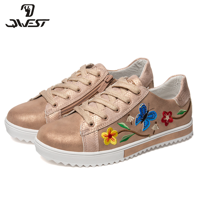 QWEST Brand Leather Insoles Spring& Summer Breathable Children Walking Shoes Size 31-36 Kids Sneaker for Girl 91P-AH-1131 bonjomarisa new brand plus size 33 40 cow leather flower woman shoes high heel women shoes black office summer sandals