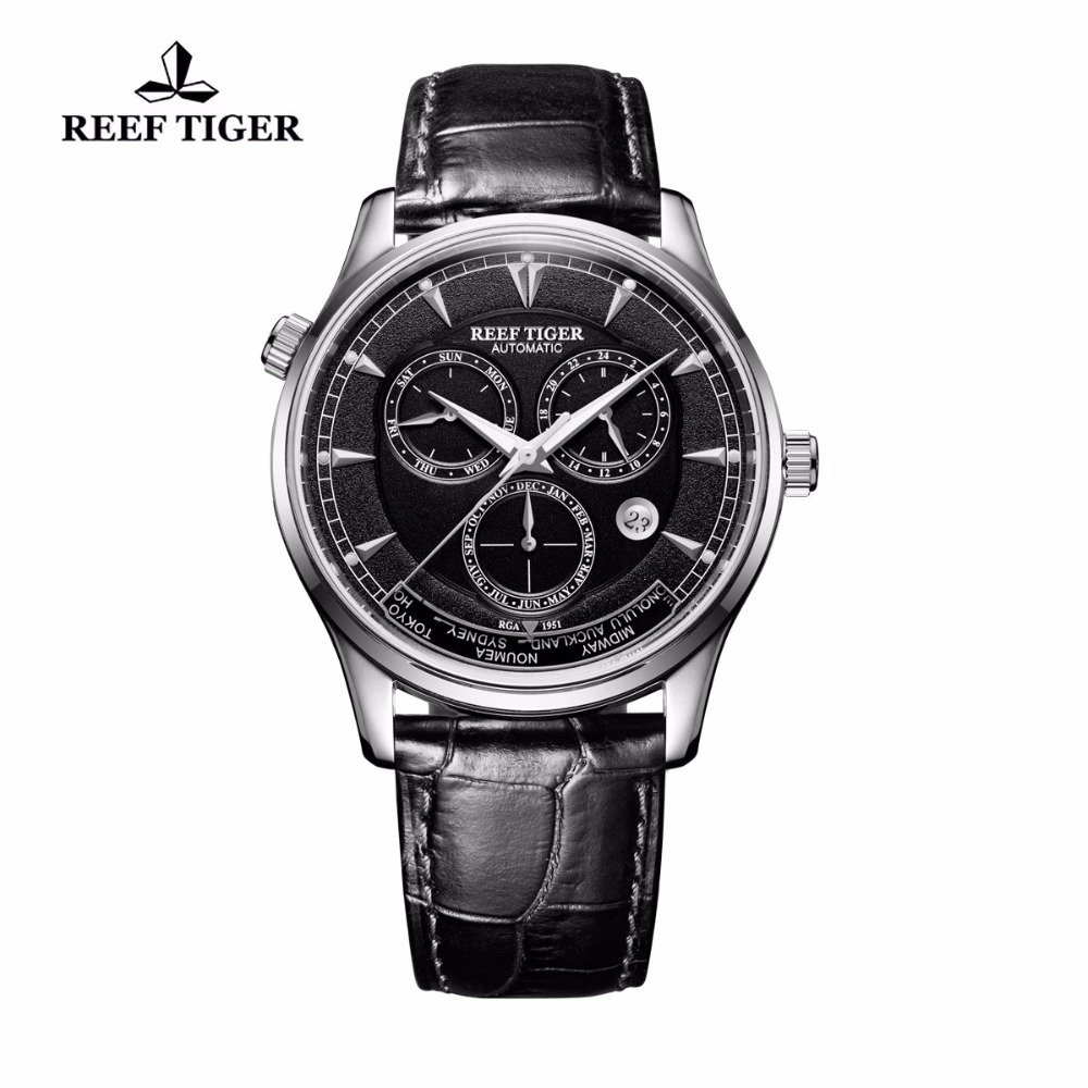 Reef Tiger/RT Mens Automatic Watches Steel Genuine Leather Strap Watch Date Day World Time Watches RGA1951 rover time rt 255