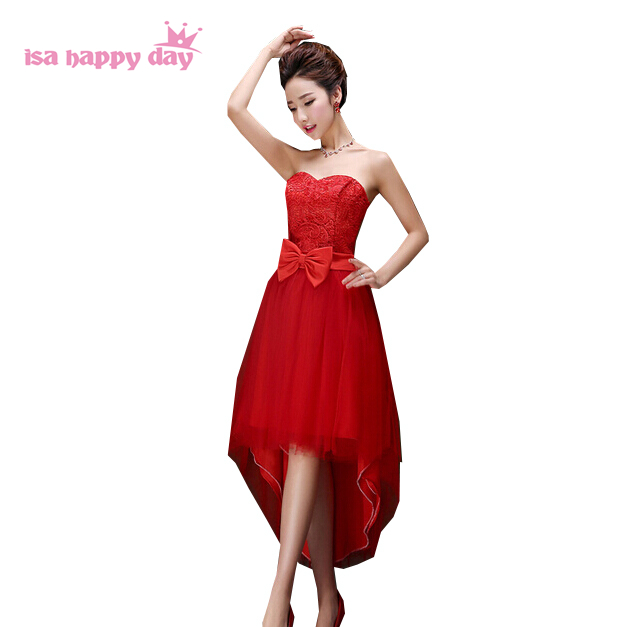 modest sweetheart red cute short front long back high low puffy vintage   prom     dress   corset pageant ball gown   dresses   H2678