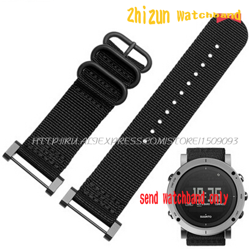 Fits For Suunto Core For Note All Black Watch Band / Strap Nylon Zulu Strap3-Ring Lugs + Adapters +PVD Clasp/Buckle+Tools 24MM wholesale suunto core nylon diver strap band kit w lugs adapters armygreen 5 colours 24mm zulu nato watchbands