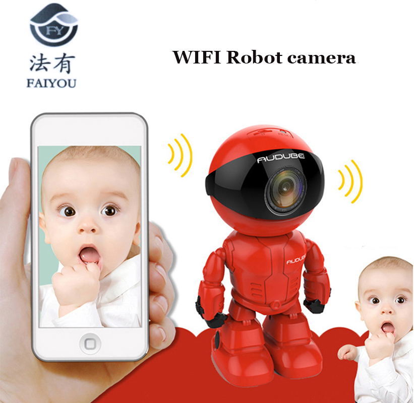 Wireless Red Robot WIFI Camera IP P2P CCTV Cam Baby Monitor Surveillance HD H.264130MP Lens IR Night Vision for Android or IOS