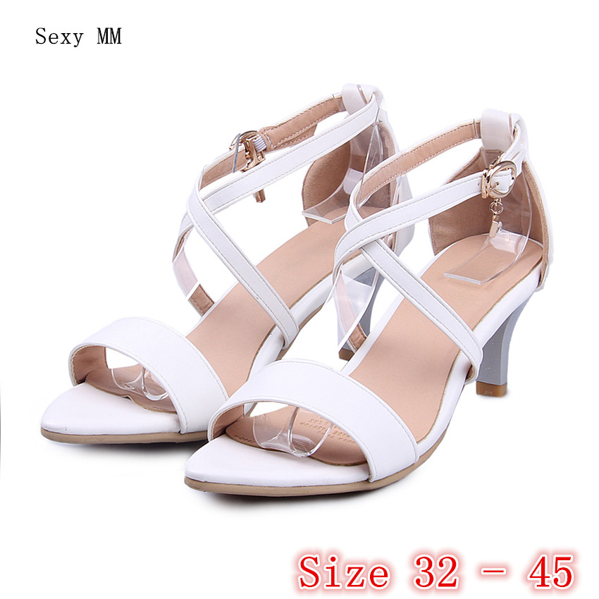 Women Gladiator Sandals Peep Toe High Heels Ankle Strap Pumps Woman High Heel shoes Small Plus Size 32 33 - 40 41 42 43 44 45