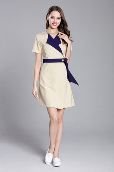 2018 Summer New Slim Fit Short Sleeve Contrast Collar Nurse Uniform Beauty Spa Skin Care Working Uniform Waist Belt Adjustable