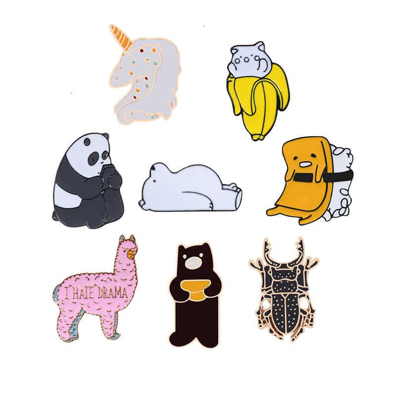 漫画動物ブローチコレクションパンダアルパカクマ猫エナメルピンデニムジャケットラペル襟ピンコサージュバッジジュエリーギフト