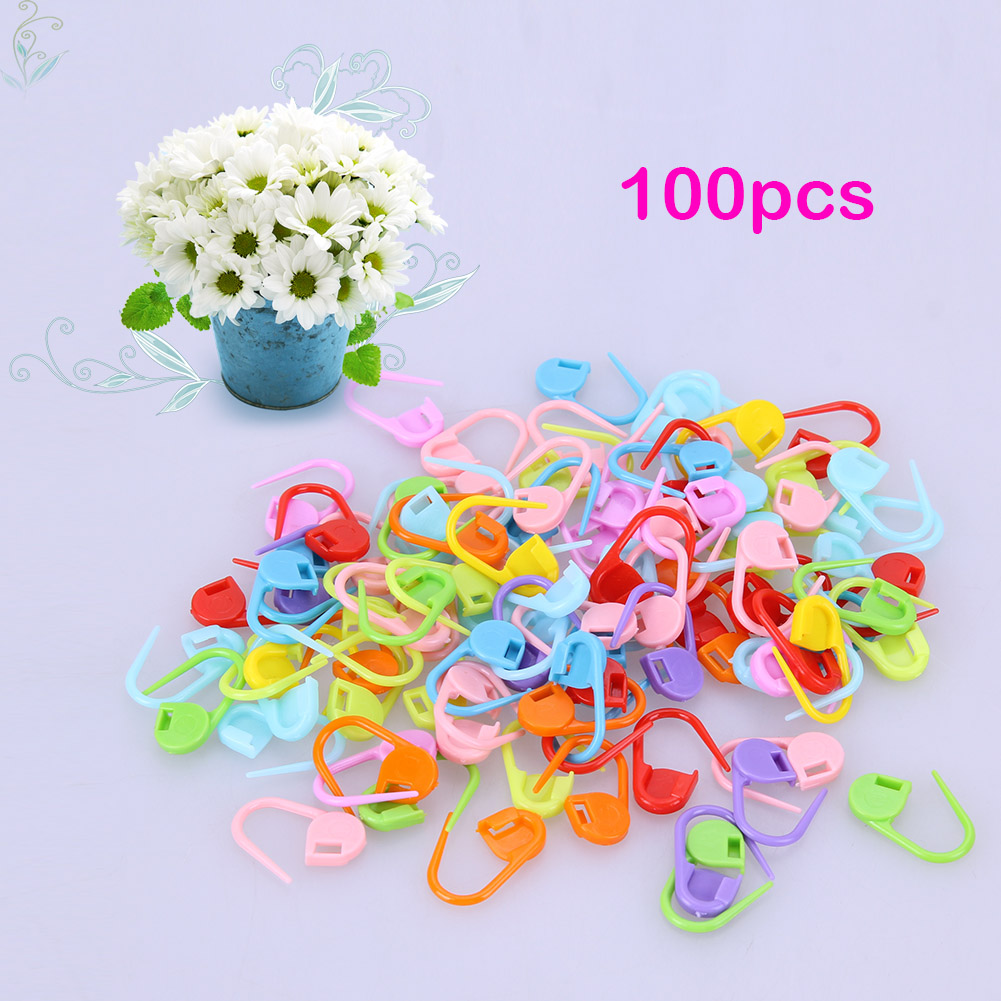 100pcs Colorful Knitting Tools Mixed Color Resin Needle Clip Hook Crochet Markers Crochet Locking Stitch Markers Latch Knitting