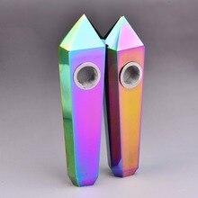 Groothandel Rainbow Flame Aura Galvaniseren Crystal Magic Wand Punt Gezondheid Tabak Houder Pijp Heling