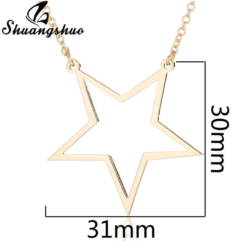 Shuangshuo Women Gold Necklaces Star Pendant Necklace Collares Hollow Out Big Star Stainless Steel Necklaces Collier Femme Gifts