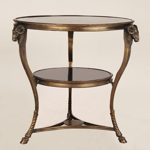 European Golden Copper And Marble Double Deck Coffee Table