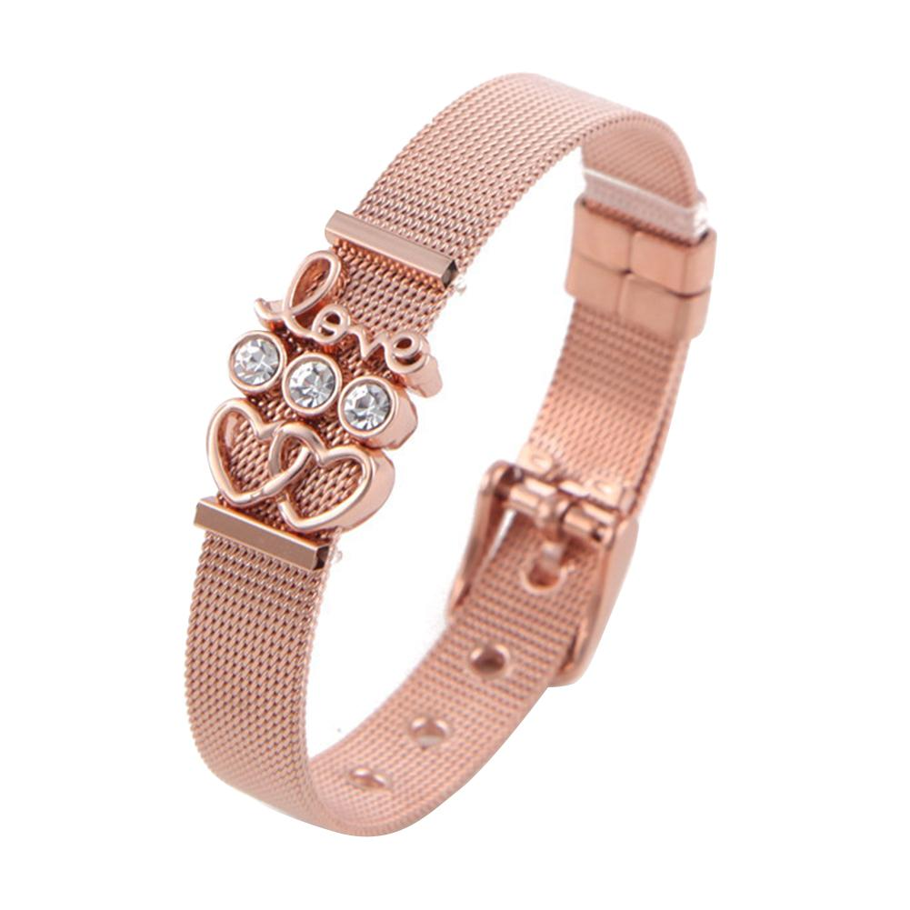 Women Stylish Rhinestone Multicolor heart Love Letter Adjusted Stainless Steel Mesh Belt Bracelet Jewelry Party Gift