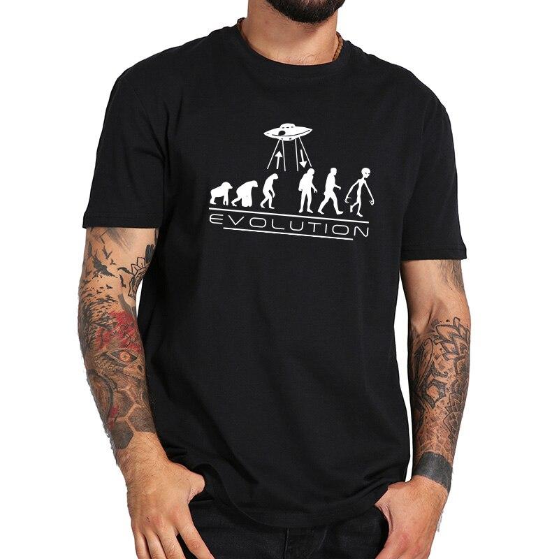 Human Evolution T-shirt Alien UFO Fashion Personality Tops Cotton Short Sleeve Camiseta Cartoon Humor Tshirt EU Size