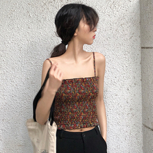 Summer Sexy Female Crop Tops Runway Women Sleeveless Straps Tank Top Print Fitness Lady Camis Casual Korean