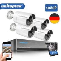 Security Camera System 4Ch AHD CCTV System DVR Kit 4Pcs 1080P 2.0MP Security Bullet Camera Outdoor AHD H Video Surveillance Set