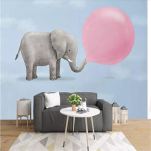 Custom murals 3D Nordic hand-painted blowing bubble elephant dream childrens room wallpaper mural