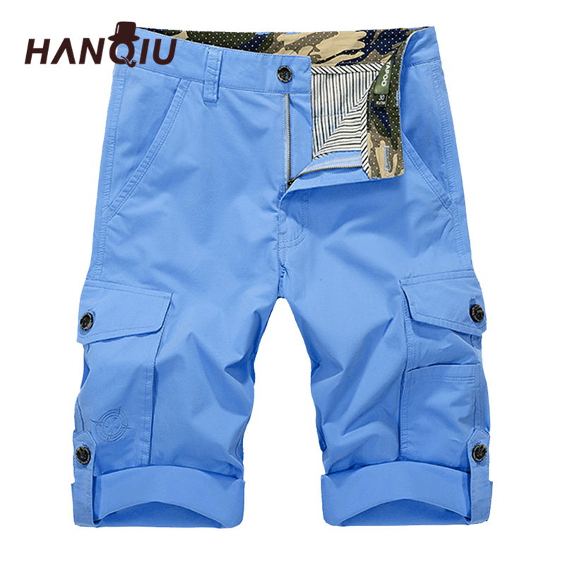 HANQIU Cargo   Shorts   Men 2019 Summer Muti-Pockets Casual   Shorts   Mens Military Tactical   Shorts   Homme Cargo   Short   Pants No Belt