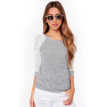 Для женщин топы и блузки 2019 новые модные женские туфли с низким вырезом на спине и длинными рукавами кружевная вязаная блузка с вышивкой Рубашки, Топы, блузки Blusas Femininas