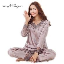 2017 New Elegant luxury Silk Pajamas For Women Solid Embroidery pyjamas women Lounge Pajama Sets Silk Satin Pijama Feminino