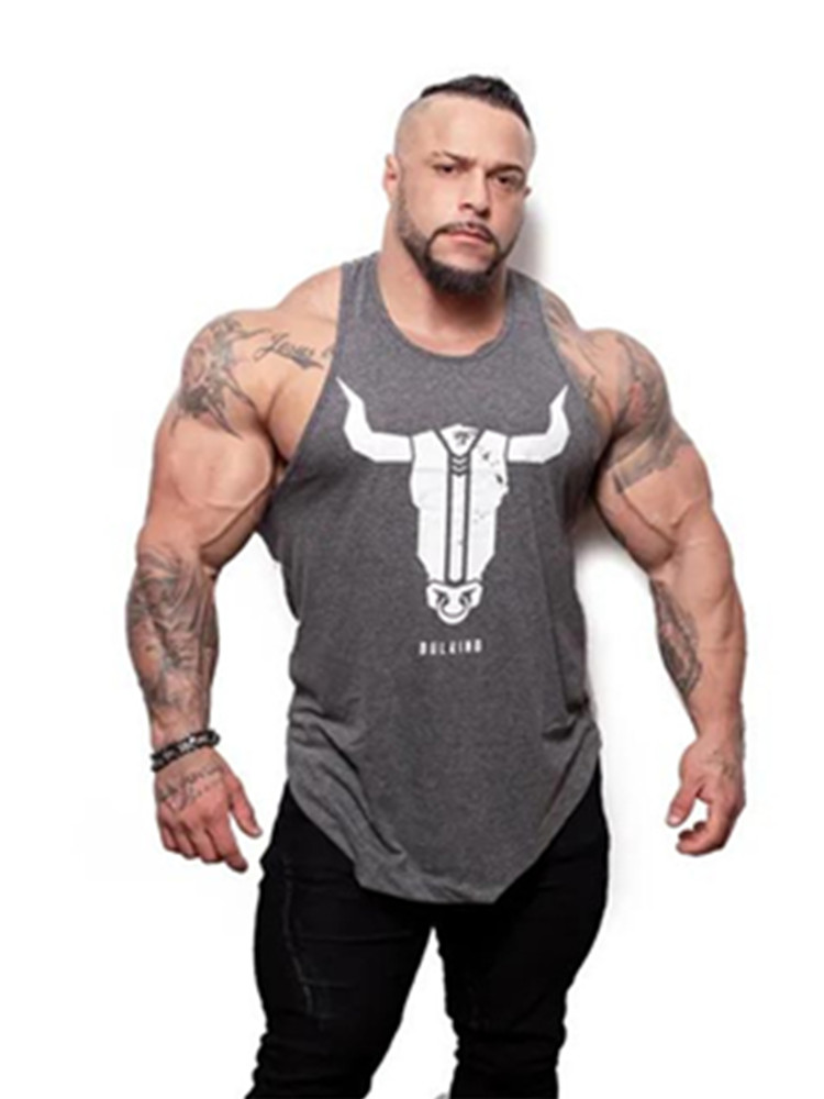 YEMEKE Bull head printing clothing bodybuilding stringer gyms   tank     top   men fitness singlet cotton sleeveless shirt muscle vest